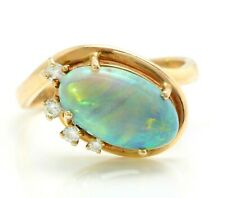2.04 Ct Natural Black Opal and Diamonds in 14K Solid Yellow Gold Ring