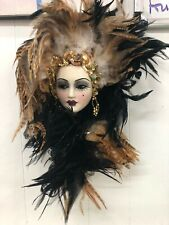 Unique Creations Lady Mask Signed Numbered black white tan feathers