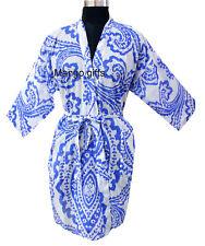 Women Fashion Sleepwear 100%Cotton Kimono Robe Night Dress Bikini Cover-Up Blue