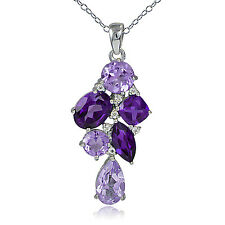 925 Silver 3.5ct African Amethyst, Amethyst & White Topaz Cluster Necklace