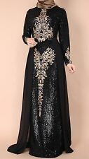 SPECIAL OCCASION BLACK & GOLD SEQUINED MAXI LONG SLEEVE MUSLIM DRESS Size 18