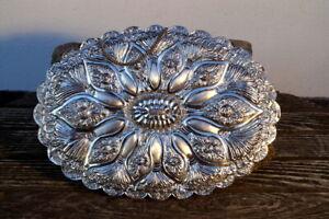 Antiguo Espejo de Pared 900er Plata 1070 G. Fina Artesanía Noble & Valioso