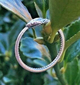 925 Sterling Silver Ouroboros Snake Ring Oxidized Serpent Gothic Ring Sz 9