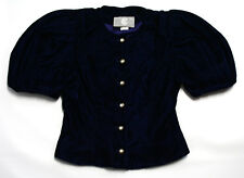 Vintage Ci New York Paris Blue Blouse Shirt Ilgwu Made in Usa Size 4 100% Rayon