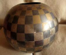"12x12"" Indian Brass/Bronze Checkered Round Ball  Decorative Modern Chess Bowl"
