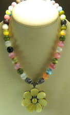 Statement Multicolor Cats Eye Fiber Optic Necklace with Yellow Flower Handmade