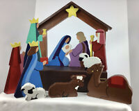 NATIVITY SCENE . Hand Carved & Hand Painted Wood . Collectible. 11 PIECES. Solid