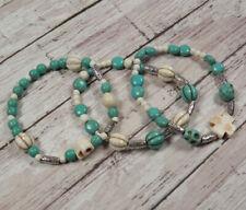 """Howlite Skull Cross Beaded Handmade Boho 3 Bracelets White Turquoise 7"""""""