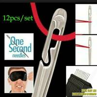 12PCs Assorted Self-Threading/Easy to Thread Sewing Needles US