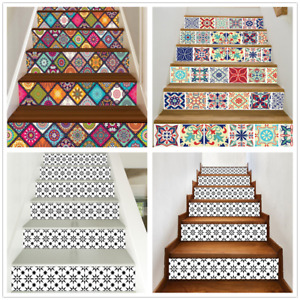 6X 3D Mosaic Stairs Tile Risers Decal Sticker Staircase Wallpaper Stair Decor
