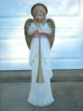 "Vintage Christmas Angel Blow Mold with Horn - Trumpet ~ 34"" ~ As Is"