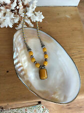Tribal Yellow Pressed Amber or Copal & Murano Trade Beads Marked Silver Necklace