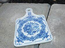 VINTAGE PORCELAIN DELFTS HOLLAND BLUE WHITE DECORATED FLORAL WALL HANGING PLAQUE