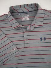 Mens Large Under Armour Coldblack gray red black stripe golf polo shirt