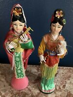 Vintage Set Of Japanese GEISHA Oriental Dolls Made in Taiwan Wooden Base