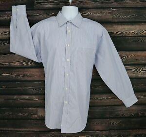 Joseph & Feiss Dress Shirt Classic Fit Mens 17X32/33 Blue White Stripes Non-Iron