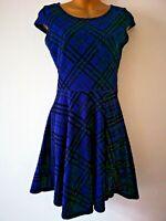 Select 8 Blue Black Plaid Stretch Skaters Smart Fit & Flare cap sleeve Dress