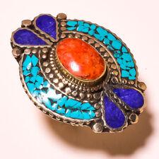 Red Coral Lapis Lazuli Tibetan Turquoise Gemstone Adjustable Nepali Ring RD-5252