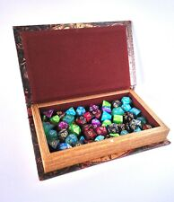 Wooden Dice Box Rolling Tray Secret Book Game Storage - Antique World Map Style