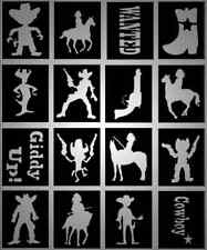32 x Cowboys and Indians Wild West Glitter Tattoo stencils for cowboy parties