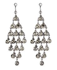 Clip On Earrings - gunmetal grey dangle earring with crystals - Daring