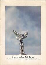 Rolls Royce 'How To Make A.....' Advertising 1972 UK Market Sales Brochure