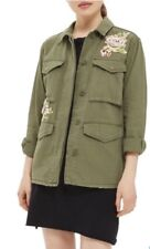 Top Shop Floral Embroidered Olive Free People Military Utility Army Combat Shirt