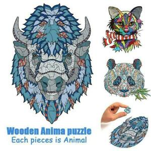 Animal Shape Wooden Jigsaw Puzzles Pieces Adult Kid Education Games U9H9 Y7K1