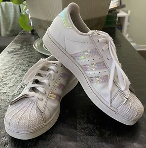 Adidas Girls Youth Size 2.5 Superstar White Pink Iridescent Strips Shoes