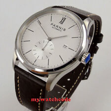 new 42mm parnis white dial date window seagull 1731 automatic mens watch P955B