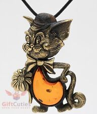 Solid Brass Amber Tom Cat with a flower Pendant Necklaces IronWork