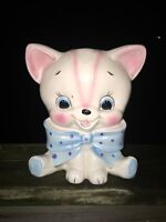 Vintage RELPO Planter Lady Cat Head Pink Kitty Bow Vase Planter  7/6 UNIQUE ❤️j8