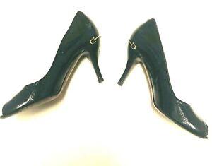 GUCCI womens shoes black glossy Patent Leather pumps peep toe heels Sz 40 ~10 US