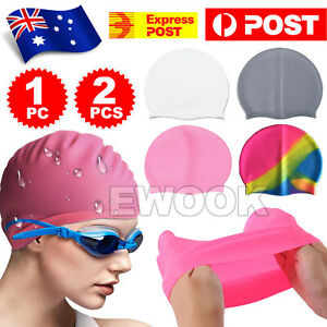 Swimming Cap Silicone Waterproof Adults Kids Unisex Men Women Swim Hat Au Post