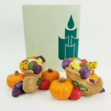 Partylite Thanksgiving Taper Candle Holders Harvest Time Cornucopia