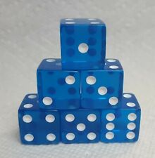 Dice Koplow 19mm *6/Set* Transparent Blue w/White Pips - Squared Larger Size