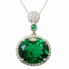 925 Sterling Silver Flower Emerald Synthetic Necklaces Pendant Изумруды P9661