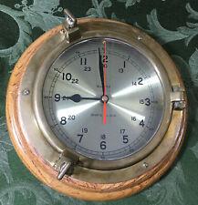 "Vintage Tochigi Tokei Co. Ltd Porthole Brass And Wood Quartz 10"" Ship's Clock"