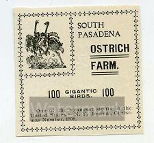 1899 Print ad Cawston Ostrich Farm 100 Gigantic Birds South Pasadena Ca