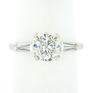 Vintage Platinum 2.02ctw GIA Cushion Diamond Solitaire 3 Stone Engagement Ring