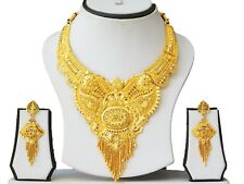 Indian 22k Gold Plated Bridal Earrings Wedding Necklace Jewelry Set A65
