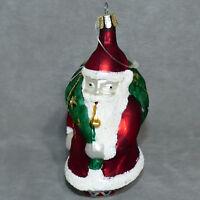 "Christmas Ornament Glass CZECH REPUBLIC POLONAISE Santa W/ Pipe 5"" USA SELLER"