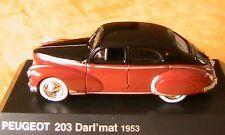 PEUGEOT 203 DARL'MAT 1953 NOREV BERLINE 1/43 BORDEAUX HACHETTE MODELCAR