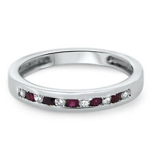 9k White Gold  0.25 carat Pink Sapphire & Round Diamonds Half Eternity Ring