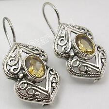 "925 Sterling Silver NATURAL CITRINE Faceted GEMSTONE Wonderful Earrings 1.2"" NEW"