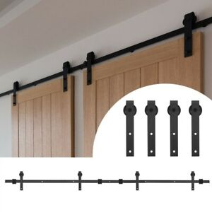12FT Sliding Barn Double Door Hardware Set Track Hanging Rail Kit Carbon Steel