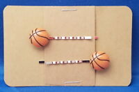 BASKETBALL Sport Handmade Bobby PIn Hair clips - Set of 2