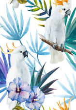 HIBISCUS AND COCKATOO'S WATERCOLOUR  ART  * LARGE A3 SiZE QUALITY CANVAS PRINT