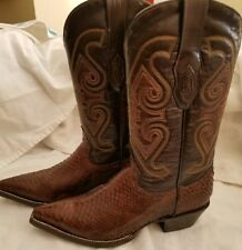Genuine Python Snake Skin Cowboy Boots Natural Exotic Western Corral SZ M 6 W8