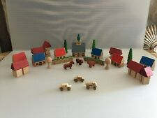 VINTAGE SIGIKID WOOD TOY TOWN 32 PIECES W. GERMANY ORIGINAL BOX